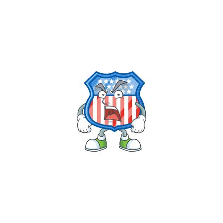 Shield badges USA cartoon character design with angry face
