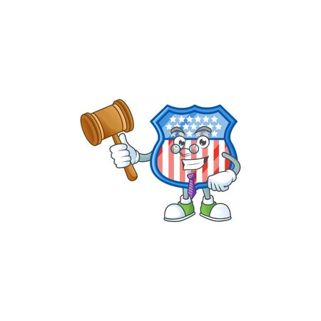 A wise Judge shield badges USA in comic strip character design