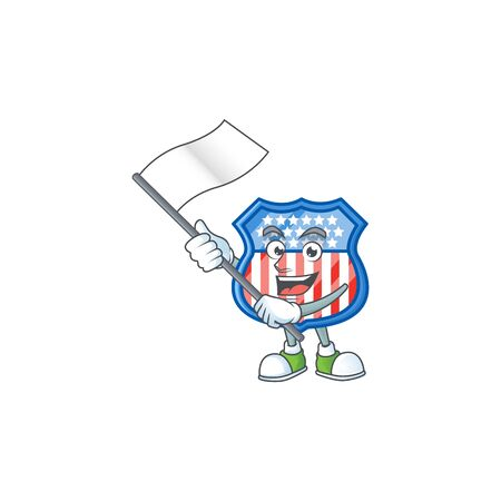 Funny shield badges USA cartoon character design with a flag 일러스트