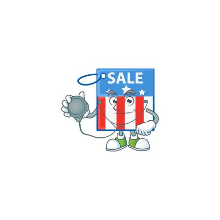 USA price tag mascot icon design as a Doctor working costume with tools Ilustrace