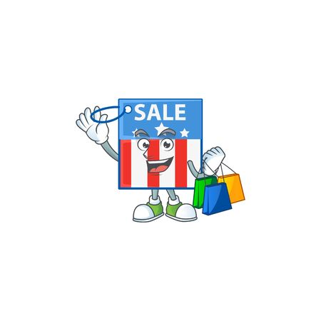 A rich USA price tag cartoon design waving and holding Shopping bag
