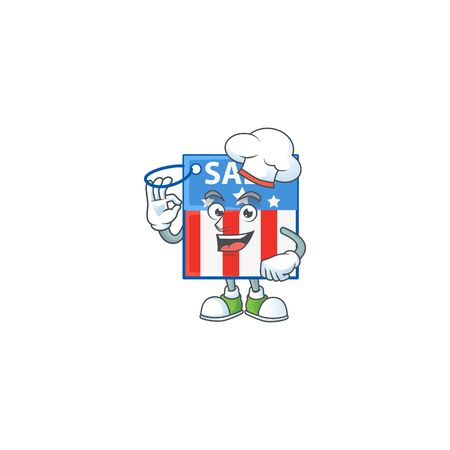 USA price tag cartoon character in a chef dress and white hat. Vector illustration Illustration