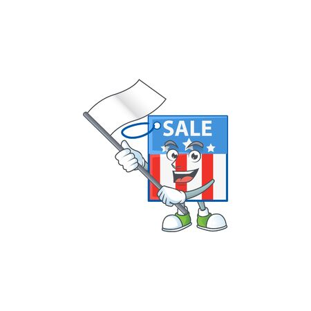 Funny USA price tag cartoon character design with a flag