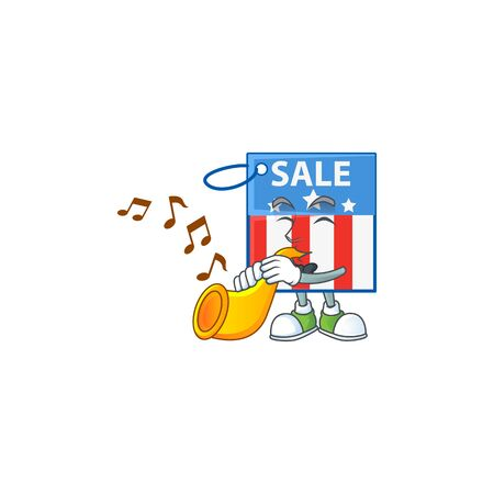 cartoon character style of USA price tag playing a trumpet