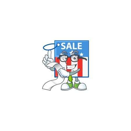 A funny face character of USA price tag holding a menu Illustration