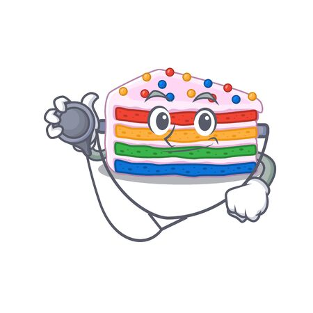 A mascot picture of rainbow cake cartoon as a Doctor with tools. Vector illustration Ilustrace