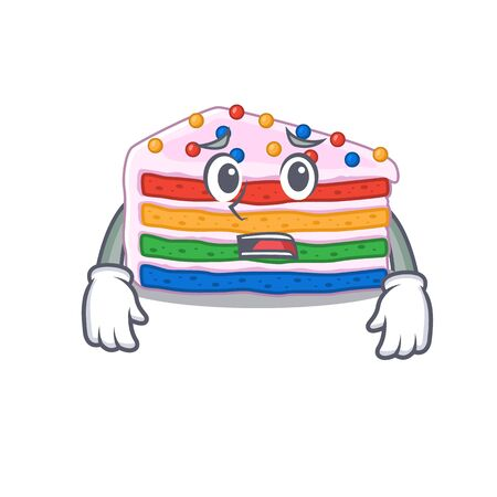 A picture of rainbow cake having an afraid face. Vector illustration