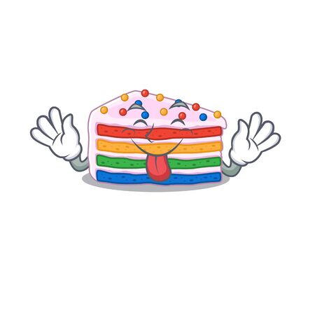 Funny rainbow cake mascot design with Tongue out. Vector illustration