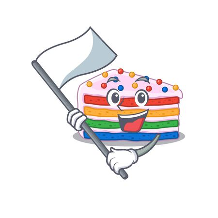 Funny rainbow cake cartoon character style holding a standing flag. Vector illustration