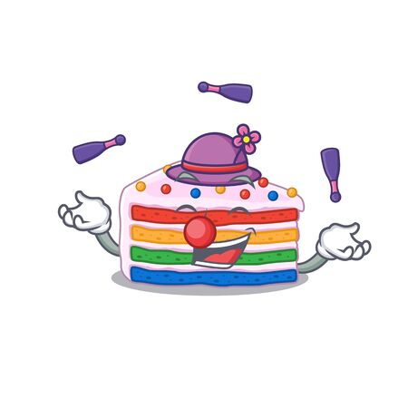 a lively rainbow cake cartoon character design playing Juggling. Vector illustration