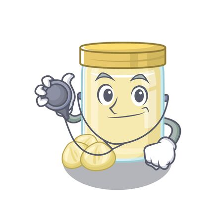 A mascot picture of macadamia nut butter cartoon as a Doctor with tools. Vector illustration