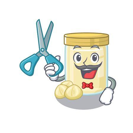 Cartoon character of Sporty Barber macadamia nut butter design style. Vector illustration Ilustración de vector