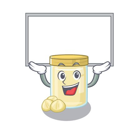 A macadamia nut butter mascot picture raised up board. Vector illustration Illustration