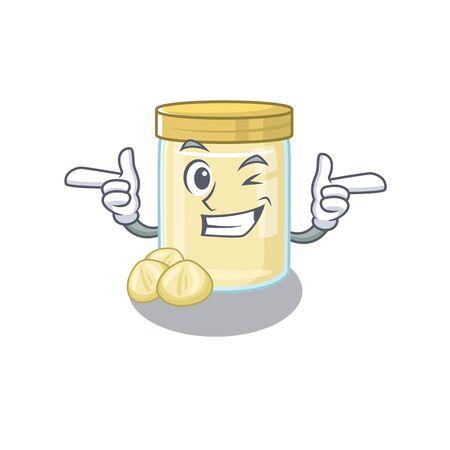Cute mascot cartoon design of macadamia nut butter with Wink eye. Vector illustration Illustration