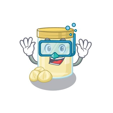cartoon character of macadamia nut butter wearing Diving glasses. Vector illustration