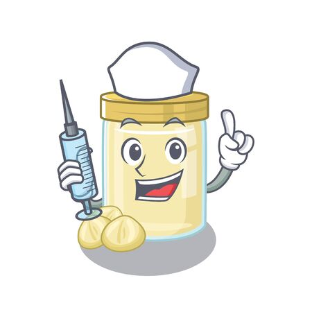 A macadamia nut butter hospitable Nurse character with a syringe. Vector illustration Çizim