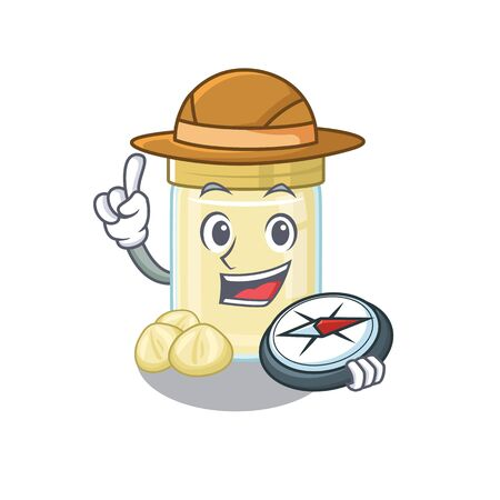 Macadamia nut butter experienced Explorer using a compass. Vector illustration