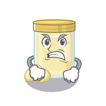 Macadamia nut butter cartoon character style having angry face. Vector illustration