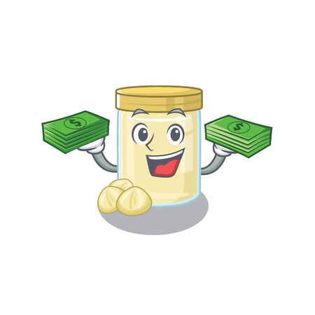 cool rich macadamia nut butter character having money on hands. Vector illustration