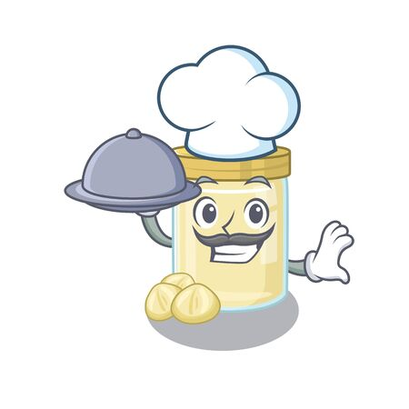 A picture of macadamia nut butter as a Chef serving food on tray. Vector illustration Illustration