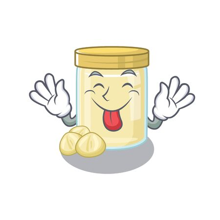 Funny macadamia nut butter mascot design with Tongue out. Vector illustration