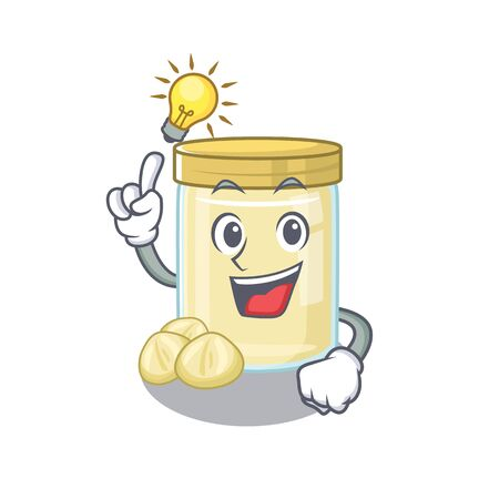 a clever macadamia nut butter cartoon character style have an idea gesture. Vector illustration