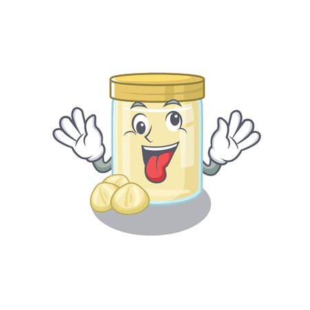 Cute sneaky macadamia nut butter Cartoon character with a crazy face. Vector illustration