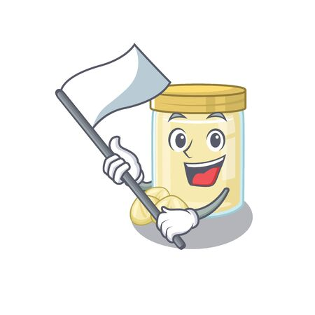 Funny macadamia nut butter cartoon character style holding a standing flag. Vector illustration 일러스트