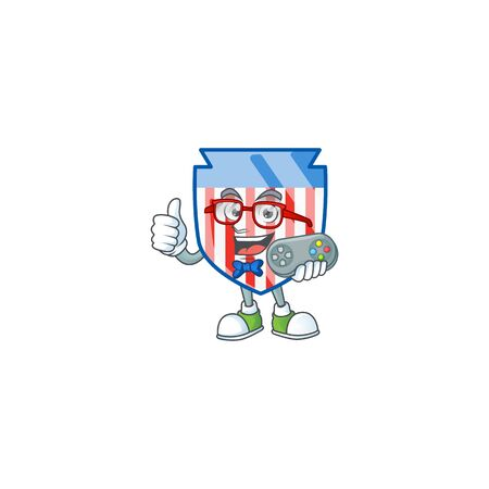 An attractive gamer USA stripes shield cartoon character design