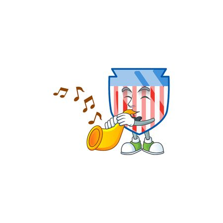 cartoon character style of USA stripes shield playing a trumpet Ilustrace