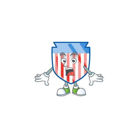cartoon character design of USA stripes shield with a surprised gesture Ilustrace