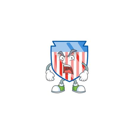 USA stripes shield cartoon character design with angry face