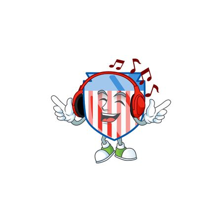 USA stripes shield cartoon character design Listening music on a headset