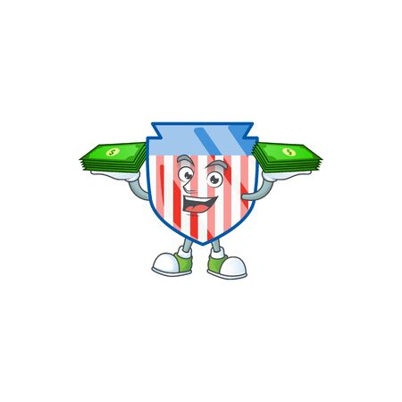 rich and famous USA stripes shield cartoon character with money on hands