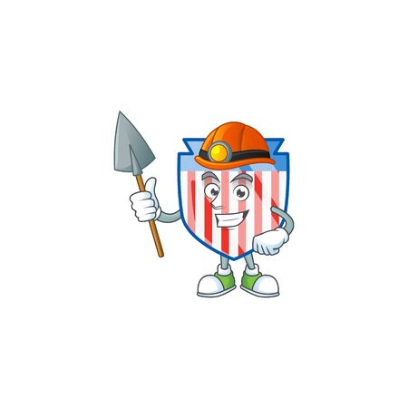 Cool clever Miner USA stripes shield cartoon character design