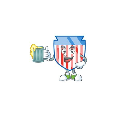 Smiley USA stripes shield mascot design holding a glass of beer