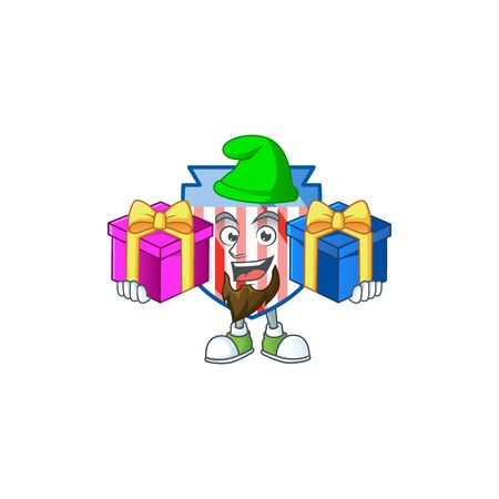 A charming USA stripes shield cartoon mascot style with two boxes of gifts