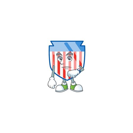A picture of USA stripes shield on a waiting gesture. Vector illustration