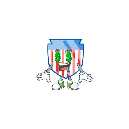 cartoon character style of USA stripes shield with Money eye Ilustrace