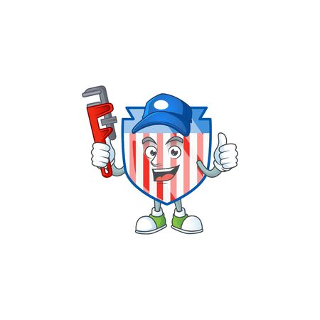Smiley Plumber USA stripes shield on mascot picture style