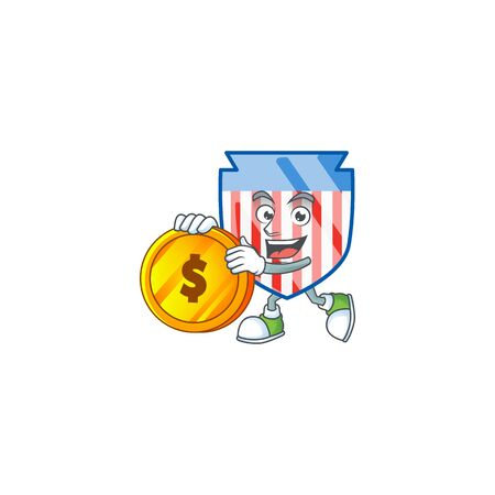 an elegant USA stripes shield mascot cartoon design with gold coin