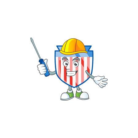 Smart automotive USA stripes shield in cartoon character style