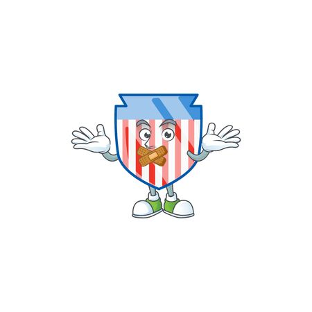 mascot cartoon character design of USA stripes shield making a silent gesture