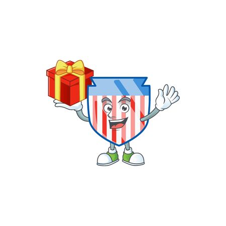 cartoon character of USA stripes shield with a box of gift Ilustrace