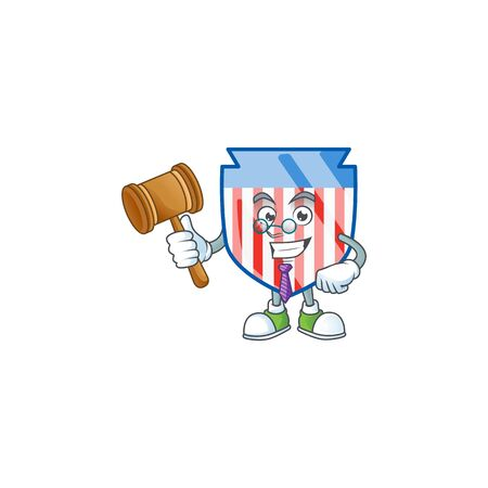 A wise Judge USA stripes shield in comic strip character design Ilustrace