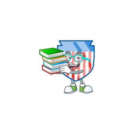 A brainy clever cartoon character of USA stripes shield studying with some books