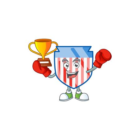 Super cool Boxing winner of USA stripes shield in mascot cartoon design