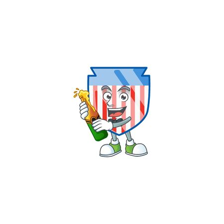 mascot cartoon design of USA stripes shield having a bottle of beer. Vector illustration