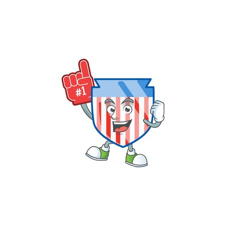 A cartoon design of USA stripes shield holding a Foam finger Ilustrace