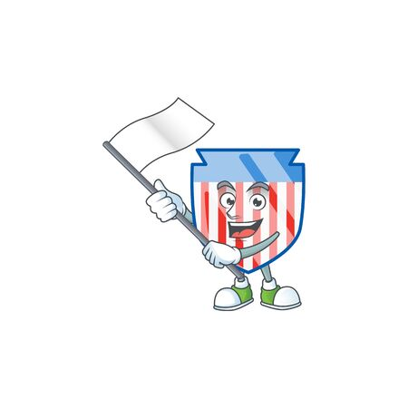 Funny USA stripes shield cartoon character design with a flag Ilustrace